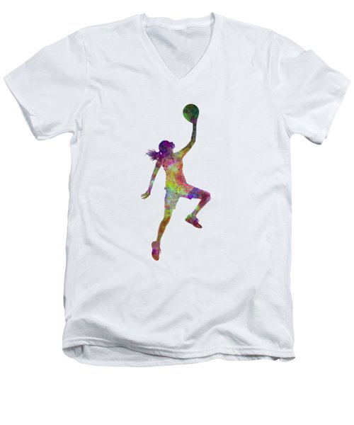 Young Woman Basketball Player 02 In Watercolor Men's V-Neck T-Shirt by Pablo Romero