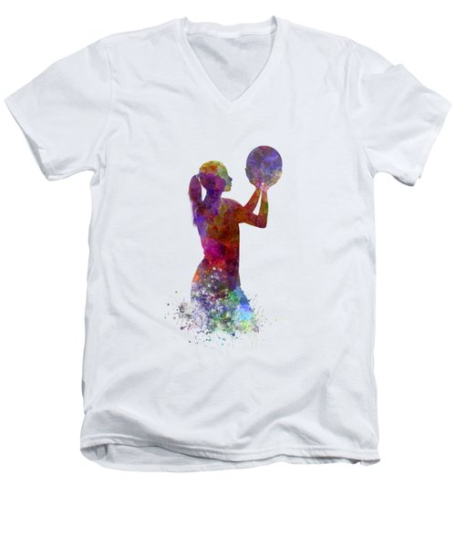 Young Woman Basketball Player 03 In Watercolor Men's V-Neck T-Shirt by Pablo Romero