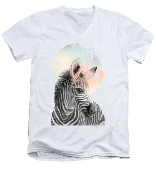 Zebra // Dreaming Men's V-Neck T-Shirt by Amy Hamilton