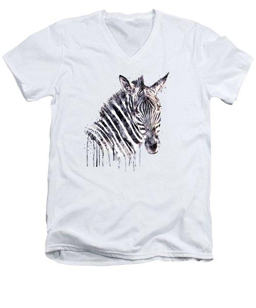 Zebra Head Men's V-Neck T-Shirt by Marian Voicu