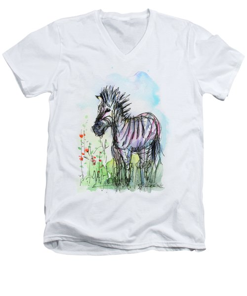 Zebra Painting Watercolor Sketch Men's V-Neck T-Shirt by Olga Shvartsur