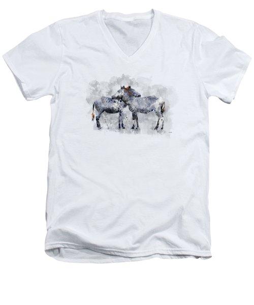 Zebras Men's V-Neck T-Shirt by Marlene Watson