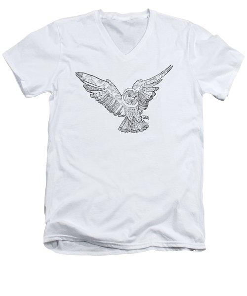 Zentangle Owl In Flight Men's V-Neck T-Shirt by Cindy Elsharouni