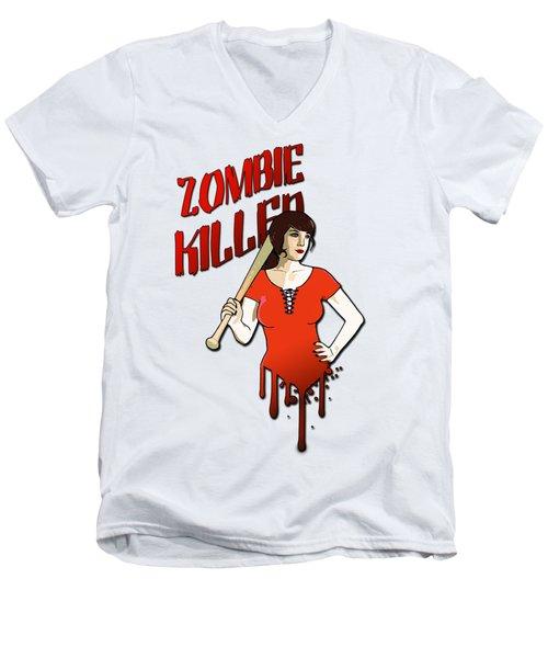 Zombie Killer Men's V-Neck T-Shirt by Nicklas Gustafsson