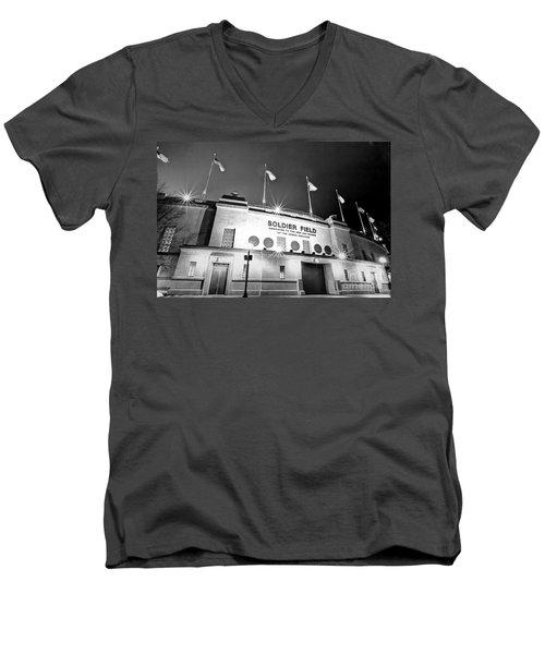 0879 Soldier Field Black And White Men's V-Neck T-Shirt by Steve Sturgill