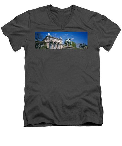 Low Angle View Of A Statue In Front Men's V-Neck T-Shirt by Panoramic Images