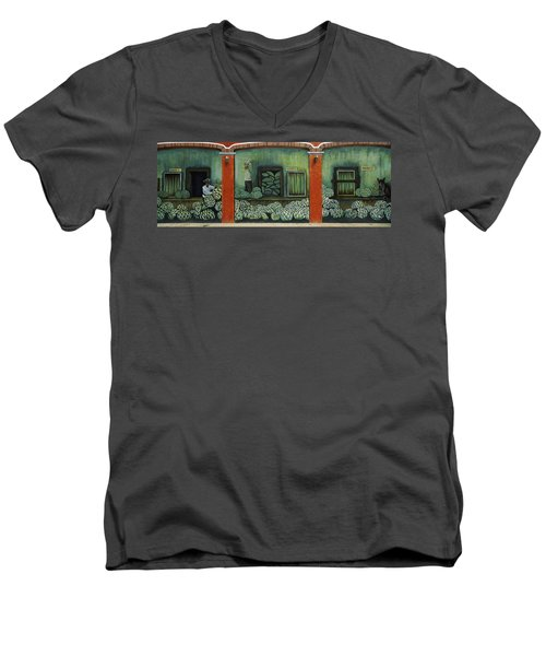 Mural On A Wall, Cancun, Yucatan, Mexico Men's V-Neck T-Shirt by Panoramic Images