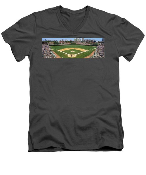 Usa, Illinois, Chicago, Cubs, Baseball Men's V-Neck T-Shirt by Panoramic Images