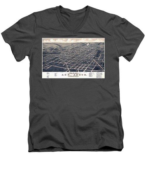 1880 Birds Eye Map Of Ann Arbor Men's V-Neck T-Shirt by Stephen Stookey