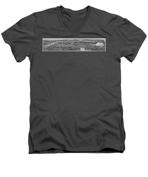 1897 Vintage Nyc Map Of The South Bronx Men's V-Neck T-Shirt by Stephen Stookey