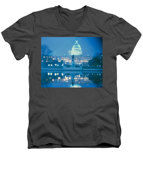 Government Building Lit Up At Night Men's V-Neck T-Shirt by Panoramic Images