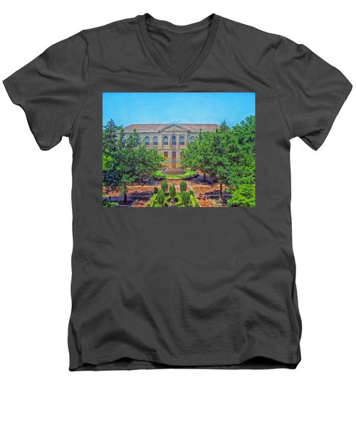 The Old Main - University Of Arkansas Men's V-Neck T-Shirt by Mountain Dreams