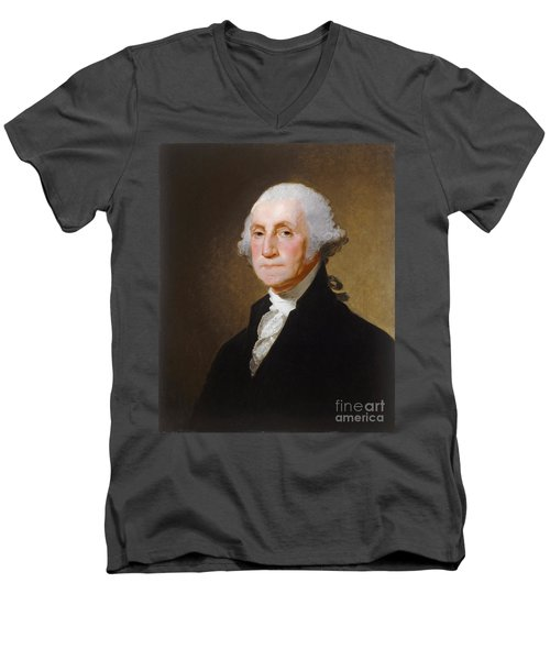 George Washington Men's V-Neck T-Shirt by Gilbert Stuart
