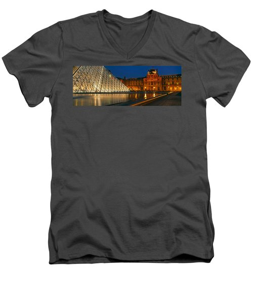 Pyramid At A Museum, Louvre Pyramid Men's V-Neck T-Shirt by Panoramic Images