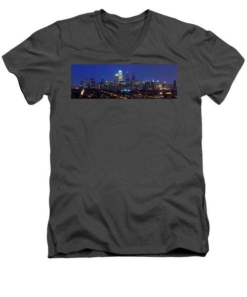 Buildings Lit Up At Night In A City Men's V-Neck T-Shirt by Panoramic Images