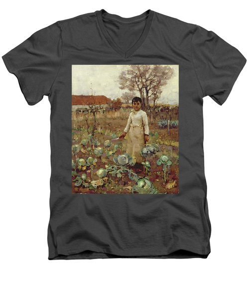 A Hinds Daughter, 1883 Oil On Canvas Men's V-Neck T-Shirt by Sir James Guthrie