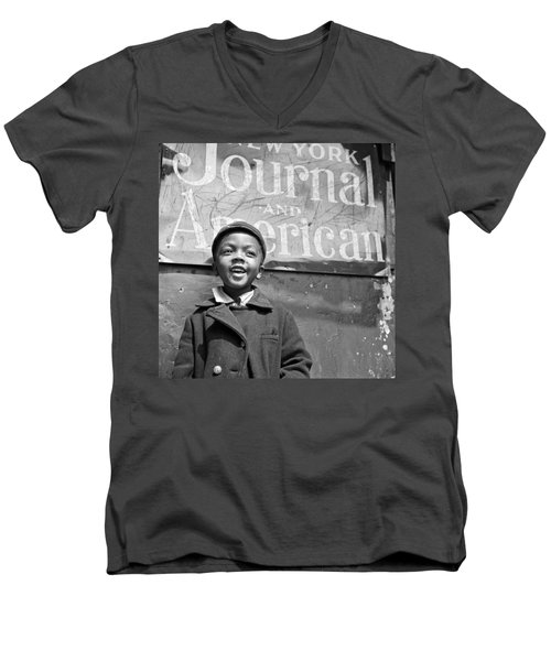 A Young Harlem Newsboy Men's V-Neck T-Shirt by Underwood Archives