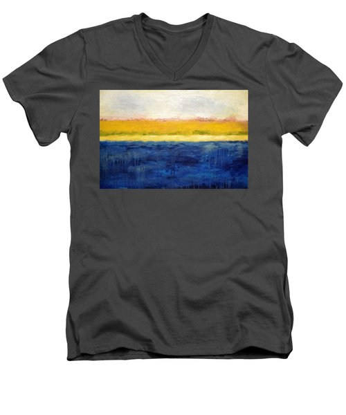 Abstract Dunes With Blue And Gold Men's V-Neck T-Shirt by Michelle Calkins