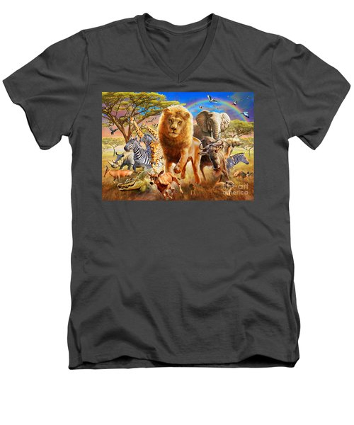 African Stampede Men's V-Neck T-Shirt by Adrian Chesterman