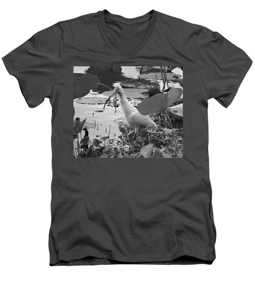 American White Ibis Black And White Men's V-Neck T-Shirt by Dan Sproul
