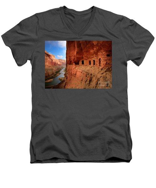 Anasazi Granaries Men's V-Neck T-Shirt by Inge Johnsson