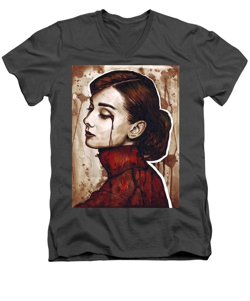 Audrey Hepburn Portrait Men's V-Neck T-Shirt by Olga Shvartsur
