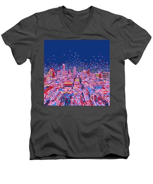 Austin Texas Abstract Panorama Men's V-Neck T-Shirt by Bekim Art