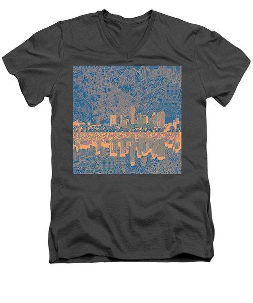 Austin Texas Skyline 2 Men's V-Neck T-Shirt by Bekim Art