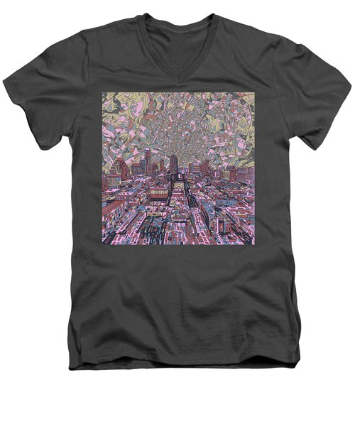 Austin Texas Vintage Panorama 2 Men's V-Neck T-Shirt by Bekim Art