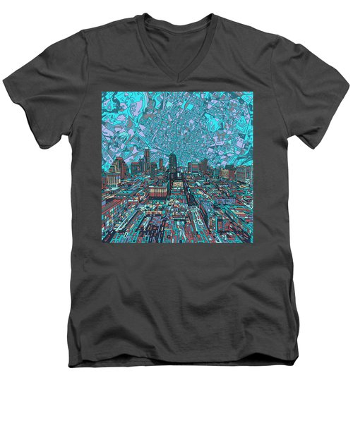 Austin Texas Vintage Panorama 4 Men's V-Neck T-Shirt by Bekim Art