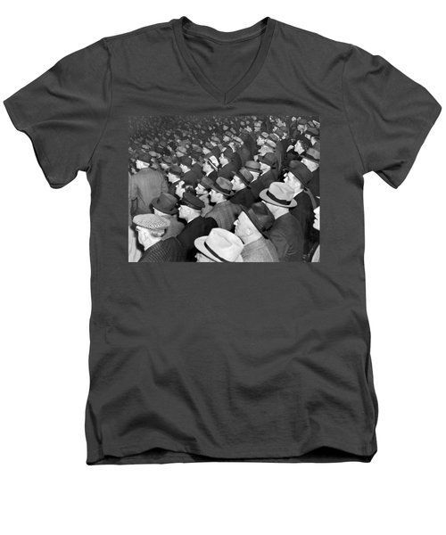Baseball Fans At Yankee Stadium For The Third Game Of The World Men's V-Neck T-Shirt by Underwood Archives