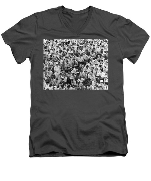 Baseball Fans In The Bleachers At Yankee Stadium. Men's V-Neck T-Shirt by Underwood Archives