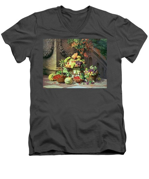 Baskets Of Summer Fruits Men's V-Neck T-Shirt by William Hammer