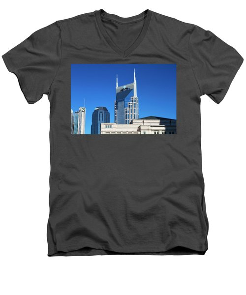 Batman Building And Nashville Skyline Men's V-Neck T-Shirt by Dan Sproul