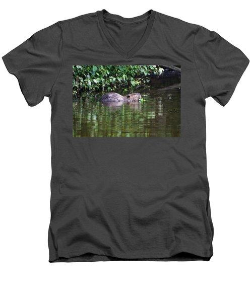 beaver swims in NC lake Men's V-Neck T-Shirt by Chris Flees