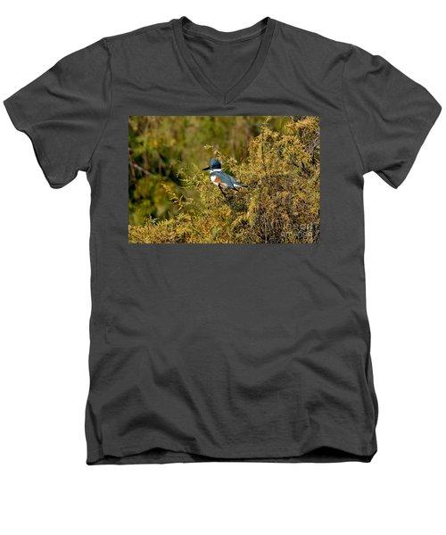 Belted Kingfisher Female Men's V-Neck T-Shirt by Anthony Mercieca