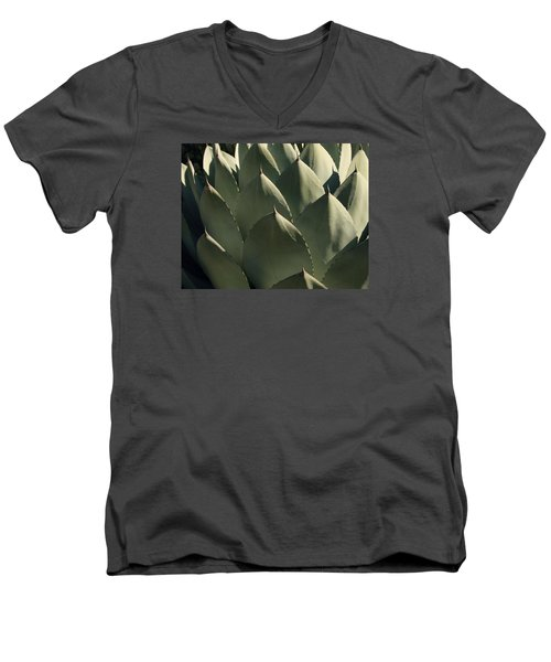 Blue Aloe Men's V-Neck T-Shirt by Ellen Henneke