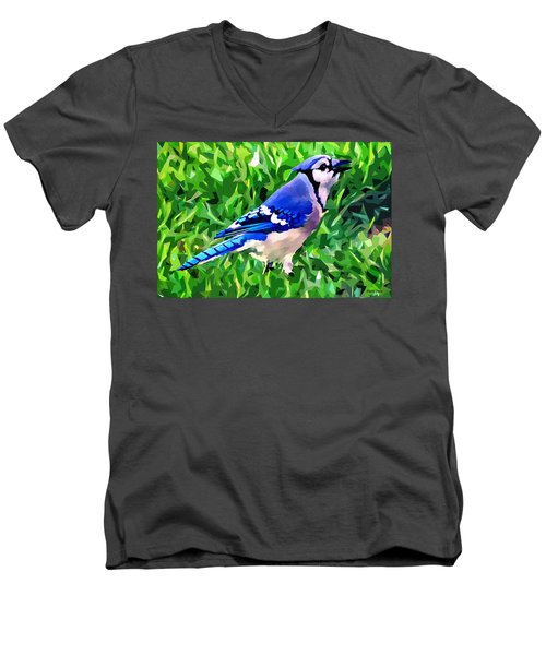 Blue Jay Men's V-Neck T-Shirt by Stephen Younts