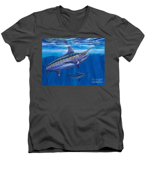 Blue Marlin Bite Off001 Men's V-Neck T-Shirt by Carey Chen
