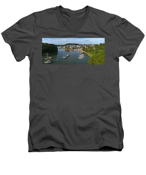 Boats In The Sea, Le Bono, Gulf Of Men's V-Neck T-Shirt by Panoramic Images