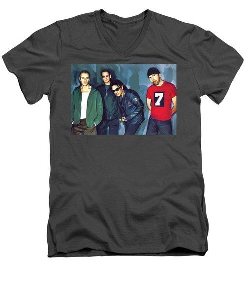 Bono U2 Artwork 5 Men's V-Neck T-Shirt by Sheraz A