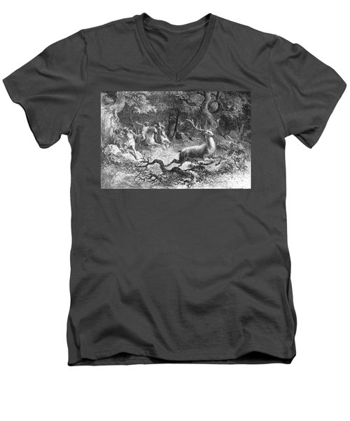Men's V-Neck T-Shirt featuring the photograph Bronze Age, Hunting Scene by British Library