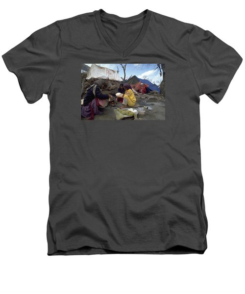 Men's V-Neck T-Shirt featuring the photograph Camping In Iraq by Travel Pics