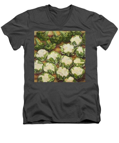 Cauliflower March Men's V-Neck T-Shirt by Jen Norton