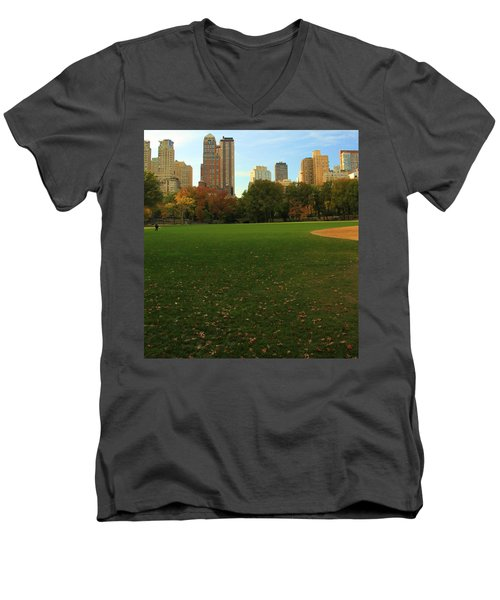 Central Park In Autumn Men's V-Neck T-Shirt by Dan Sproul