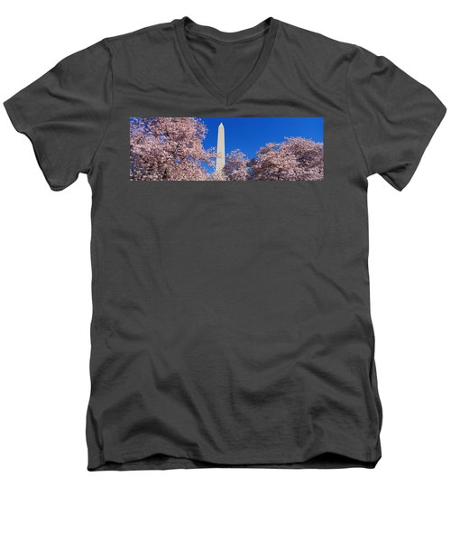 Cherry Blossoms Washington Monument Men's V-Neck T-Shirt by Panoramic Images