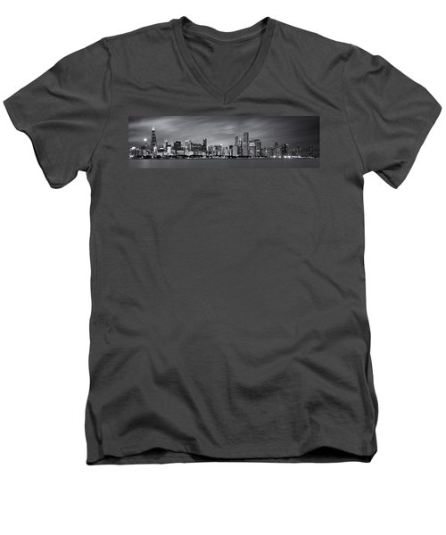 Chicago Skyline At Night Black And White Panoramic Men's V-Neck T-Shirt by Adam Romanowicz