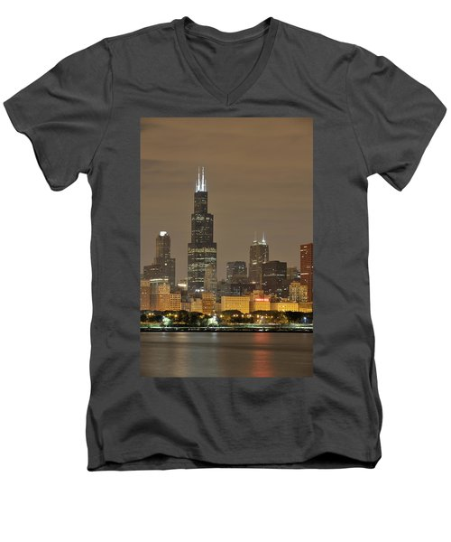 Chicago Skyline At Night Men's V-Neck T-Shirt by Sebastian Musial