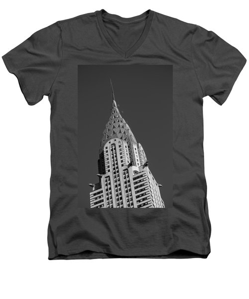 Chrysler Building Bw Men's V-Neck T-Shirt by Susan Candelario
