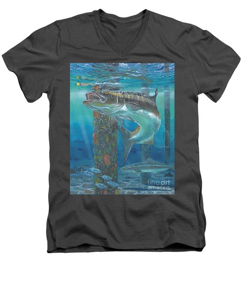 Cobia Strike In0024 Men's V-Neck T-Shirt by Carey Chen